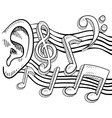 doodle ear music notes vector image