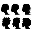 afro american young men face silhouettes african vector image