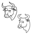set of bull heads isolated on white background vector image