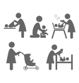 Family and baby flat icons isolated on white vector image