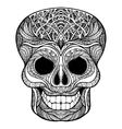 Decorative skull black doodle icon vector image