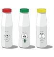 Milk smailing bottle set 009 vector image