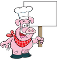 Cartoon pig wearing a chef hat and holding a sign vector image