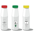 Milk smailing bottle set 009 vector image
