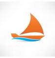 orange sailboat at sea icon vector image