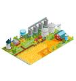 Farm Buildings Isometric Landscape vector image