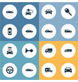 set of simple transport icons vector image