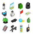 Paintball game isometric 3d icons vector image
