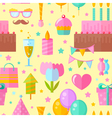 Festive birthday seamless pattern in flat style vector image