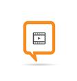 square orange speech bubble with film tape vector image