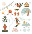 Christmas set elements Ski resort vector image