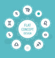 flat icons twins zodiac sign scales and other vector image