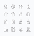 linear web icons set - man clothing store vector image
