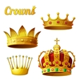 Set 3 of royal gold crowns isolated on white vector image