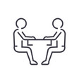 sitting men conversation line icon sign vector image