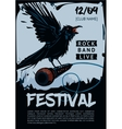 Music poster template for rock concert Raven is vector image
