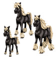 cartoon black horses with blonde mane vector image