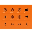Compass icons on orange background vector image vector image