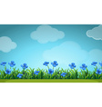 Scene with blue flowers in garden vector image