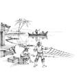 Fishermen at work sketch vector image