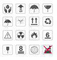 fragile symbol and symbol of packing box icons set vector image