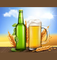 glass green bottle and mug with craft beer vector image