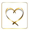 gold heart ribbon 1 vector image