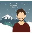 man bearded winter sport alps mountains snow vector image