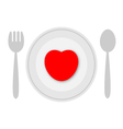 Plate with heart vector image