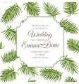 Wedding invitation card greenery palm leaves RSVP vector image