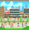 people walking on city street with urban cityscape vector image