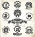 Anniversary retro badge and labels vector image