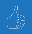 Hand Drawn Thumbs up isolated on white background vector image vector image