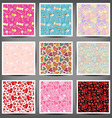 Set seamless patterns of hearts and squares vector image