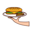 hand holding sandwich in dish french fries menu vector image