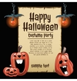 Pumpkins and lanterns with card fot text vector image