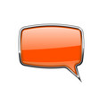 speech bubble square orange 3d icon with chrome vector image