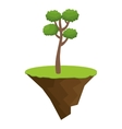 terrain with grass and tree isolated icon vector image