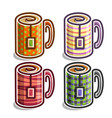 set abstract tea cups vector image