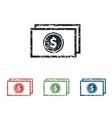 Dollar bill grunge icon set vector image