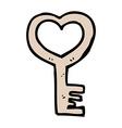 comic cartoon heart shaped key vector image