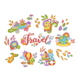 Doodle hand drawn sticker with travel and summer vector image