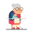 Iron clothes Household Granny Old Lady Character vector image