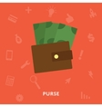 Purse with money icon vector image