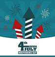 4th july independence day fireworks rockets vector image