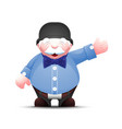 positive senior businessman stands and points side vector image