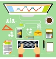 Programmer at working place witn equipment vector image