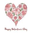 Valentine Day floral heart shape vector image