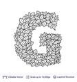 letter g symbol of white leaves vector image