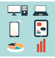 Mobile devices computer and business icons set vector image